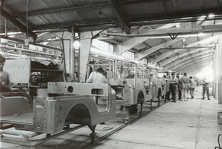 Black and white old production line car manufacturing Karakuri Kaizen