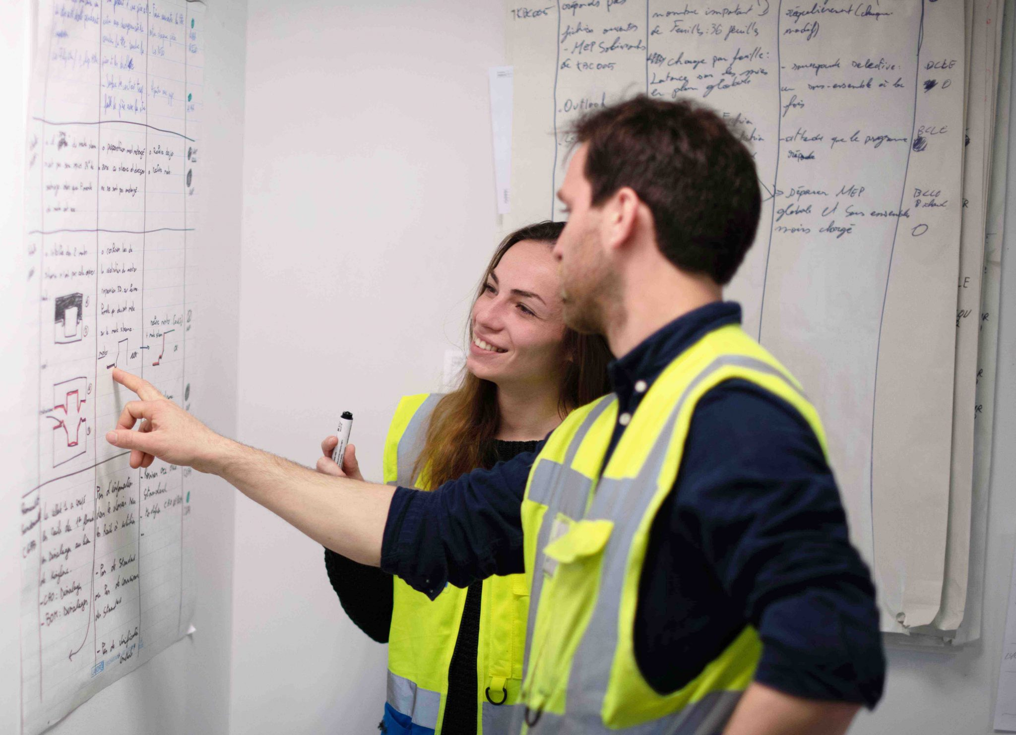 Male and female engineer learning together