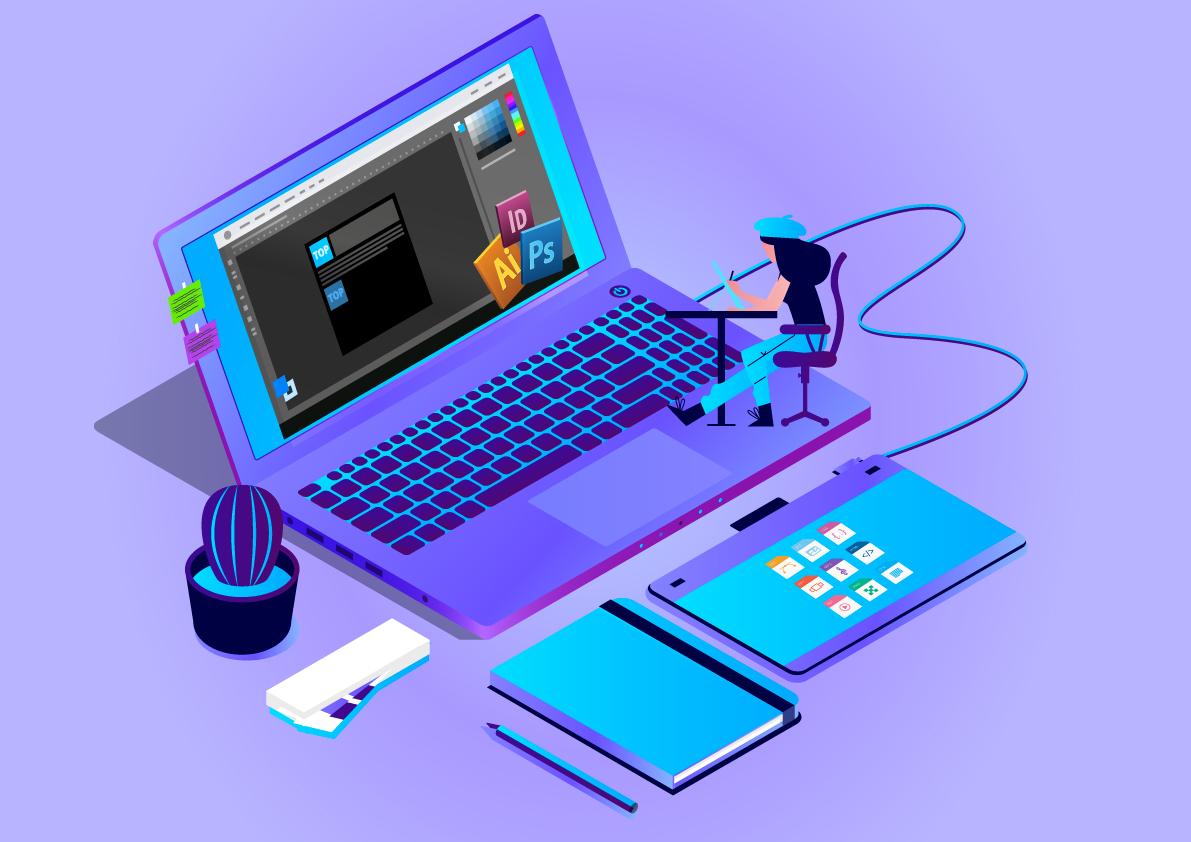 Graphic designer on computer purpule theme