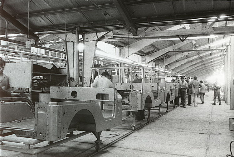 Black and white old production line car manufacturing